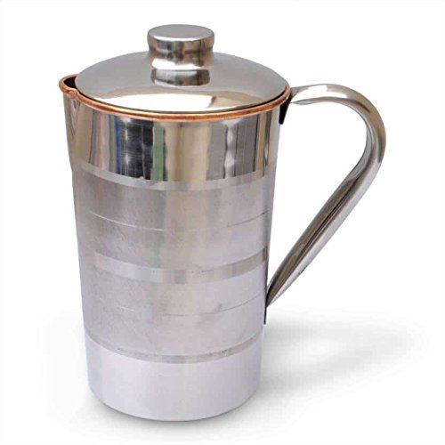 NirvanaCraftVilla 7.5 #34; X 4.5 #34; Handmade Copper and Steel Jug Pitcher Volume 1.7 Liter with Lid Water Storage Good Health Benefits Yoga, Ayurved