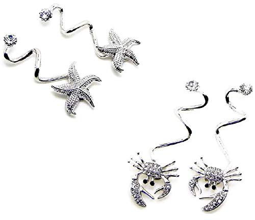 Flip Flop Shoe Charms (Two Pair) Starfish and Crabs (Nautical Charm Pin)