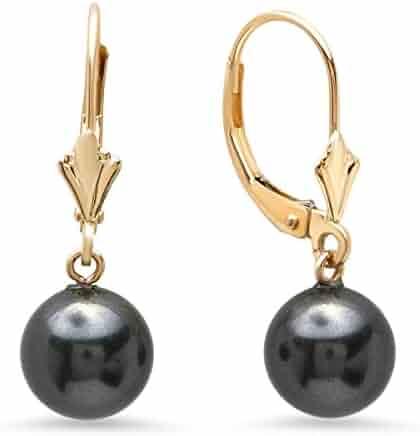 305ce2933e8b4e Pori Jewelers 14K Solid Gold Lever-back Swarovski Pearl Drop Earrings -  Multiple Color options