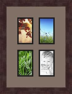 ArtToFrames 1.25-Inch Espresso Picture Frame with 4 Openings of 3 by 5-Inch and a Pewter Top Mat and Black Bottom Mat