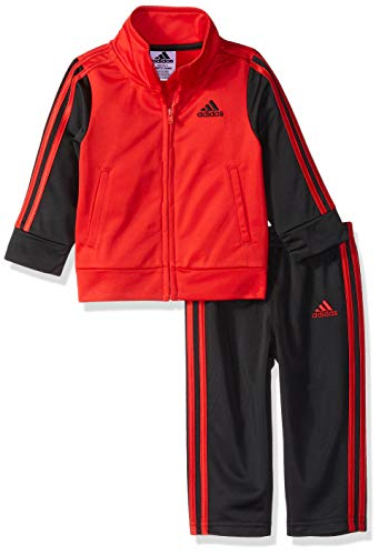 adidas Baby Boys Colorblock Tricot Tracksuit 2-Piece Set, Icon Scarlet/Black, 9 Months