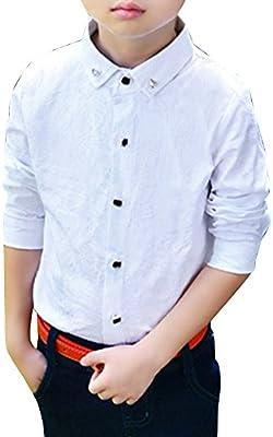 Camisas Niño Manga Larga Formal Camisa Clásica para Fiesta Blanco: Amazon.es: Deportes y aire libre