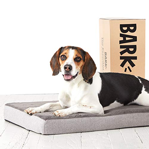BarkBox Medium Gray 3 Inch Tall Pressure-Relief Orthopedic Memory Foam Dog Bed or Crate/Kennel Mat - Removable Washable Fleece Cover - Free Surprise