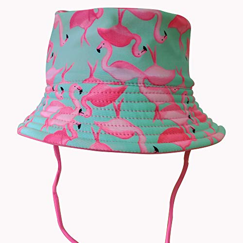 rls Summer UPF 50+ Sun Protection Bucket Hat 4-10Y Wide Brim Beach Cap with Adjustable Chin Strap(Red, Medium) ()