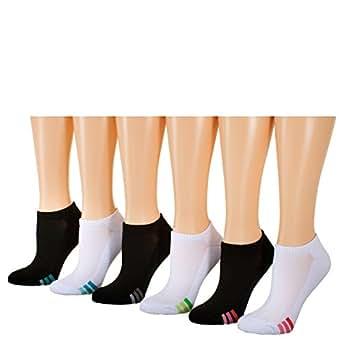 Tipi Toe Women's 6-Pack No Show Athletic Socks, Sock Size 9-11 Fits Shoe 6-9, SP01-6