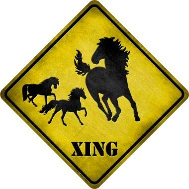 Bargain World Horse Xing Novelty Metal Crossing Sign (Sticky Notes) -