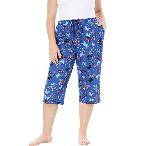 Dreams & Co. Women's Plus Size Knit Sleep Capri - True Blue Butterfly, L