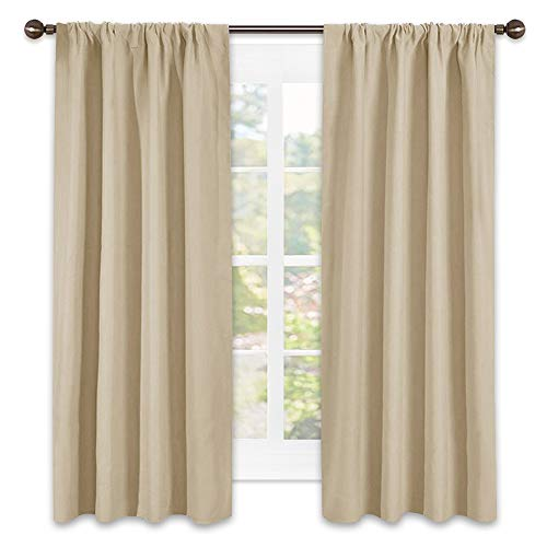 Insulated Drapes - NICETOWN Room Darkening Curtains for Bedroom - Triple Weave Home Decoration Thermal Insulated Solid Window Drapes (Set of 2 Panels,42 x 63 Inch,Cream Beige)
