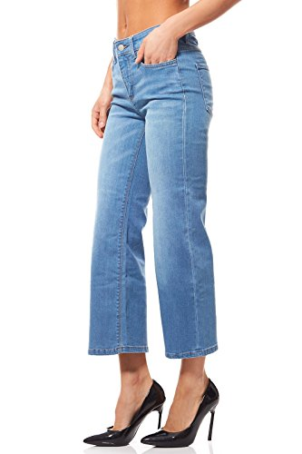 Pieces Just Glace Cropped Flared Jeans pour Femme Blue Denim