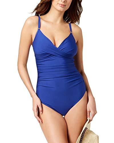 Calvin Klein Womens Twist-Front Tummy-Control One-Piece Swimsuit 18 Atlantis Blue