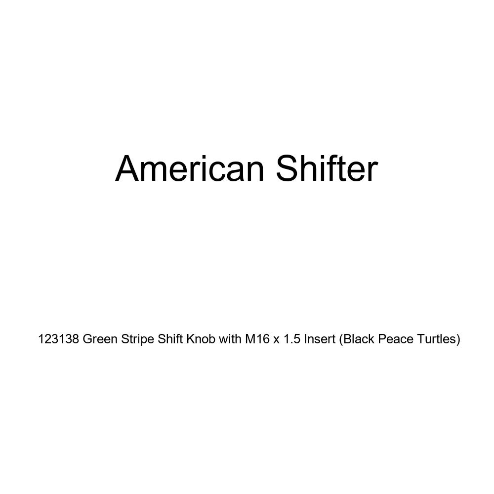American Shifter 123138 Green Stripe Shift Knob with M16 x 1.5 Insert Black Peace Turtles