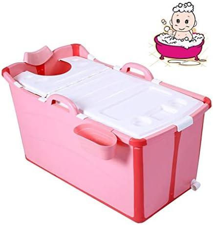 折りたたみバスタブ GYF 折りたたみ大人用浴槽 ポータブルプラスチック浴槽 座るカバー付き ホームアダルト 子供用入浴浴槽ベビースイミングビッグタブ 2色子供用プールプール (Color : Pink)