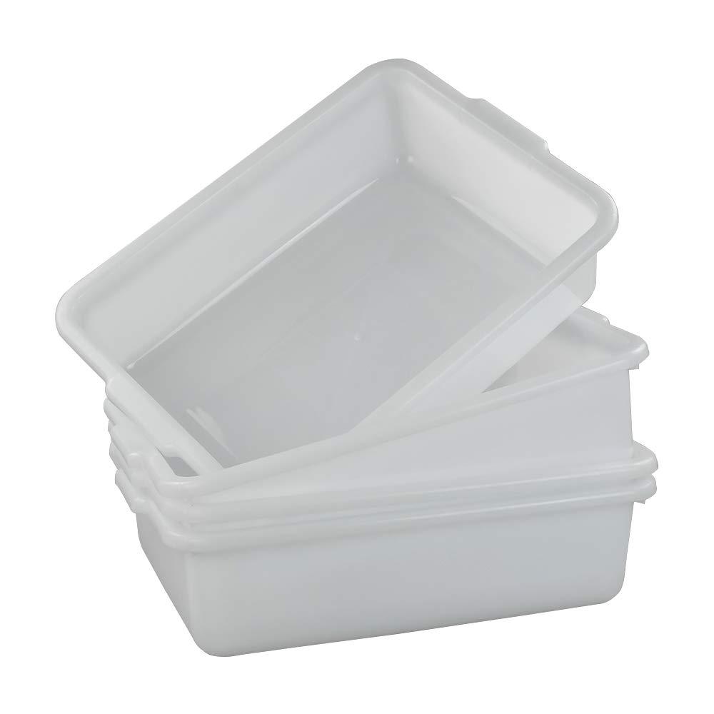 Asking 4-Pack Plastic White Commercial Bus Box, Utility Bin