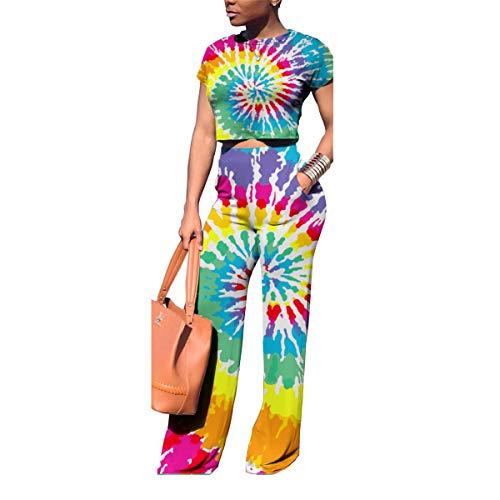LKOUS Women's 2 Pieces Jumpsuits Short Sleeve Crop Top Long Pant Outfit Tracksuits Plus Size