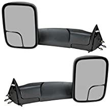 For Dodge 94-01 Ram 1500, 94-02 Ram 2500 3500 Pickup Truck Manual Towing Tow Mirror Left Driver and Right Passenger Pair Set Fits 60177-78C Side Mirror (1994 1995 1996 1997 1998 1999 2000 2001)
