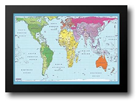 Peters projection world map 40x28 framed art print amazon peters projection world map 40x28 framed art print gumiabroncs Gallery
