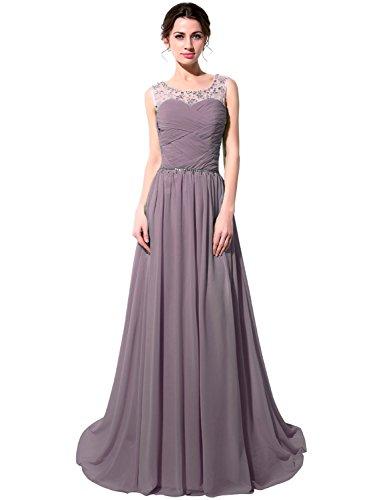 Chiffon Damen Grau Kristall Clearbridal Ballkleider Lange Herzausschnitt Abschusskleider mit Perspektiv Abendkleider CSD184 5gx6qdwPT6