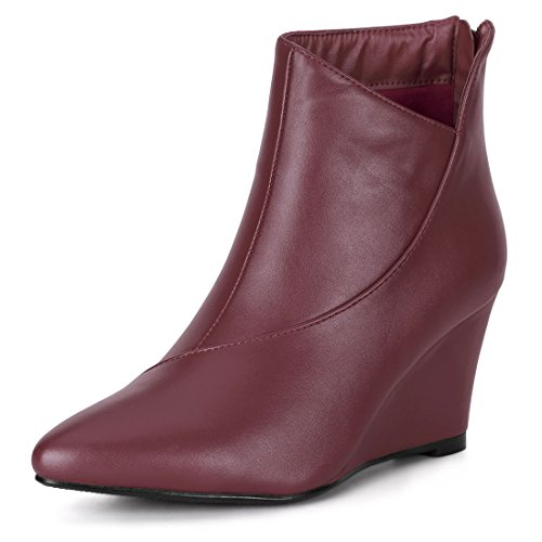 Allegra K Women's Pointed Toe Zipper Wedge Boots Burgundy 4 UK
