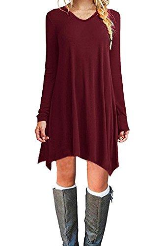 Zaitun Women's Casual Long Sleeve Loose T-Shirt Dress Mini Tunic Dress (Medium, Wine Red) -