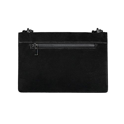 flap RACHEL evening chain genuine purse designer bag Italian body leather bag Black cross suede 1warxq8TYa