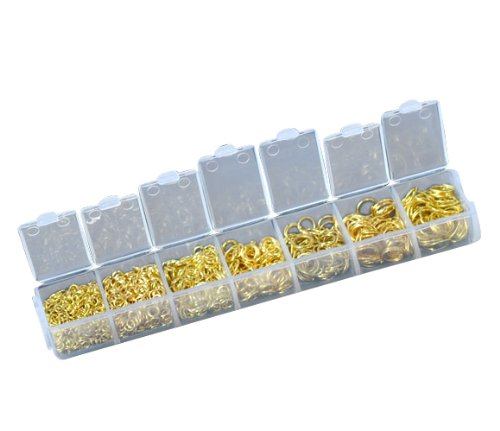 1 Container / 1 Box containing 1780 Mixed Gold Plated Open Jump Rings 3mm-9mm,(1780 PCs Assorted) Findings HOUSWEETY
