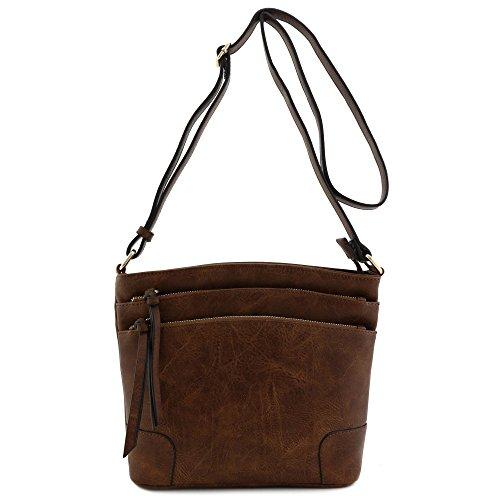 Triple Zip Pocket Medium Crossbody Bag (Coffee) by FashionPuzzle