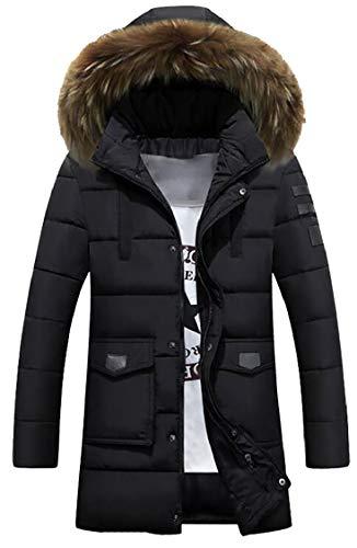Down Sleeve Mens Long Down Hooded Fur Gocgt Fur Jacket Collar Coat Black Luxurious EaYSwOxnnq