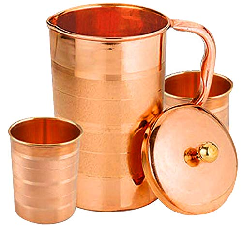 SKAVIJ Pure Copper Pitcher 2 Tumblers Set Luxury Style Water Jug for Ayurveda Health Benefits Capacity 54 oz Christmas Gift Item