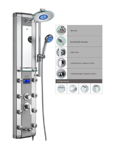 "Blue Ocean 52"" Aluminum SPA33D Shower Panel Tower with Rainfall Shower Head, 8 Mist Nozzles, and Tub Spout"