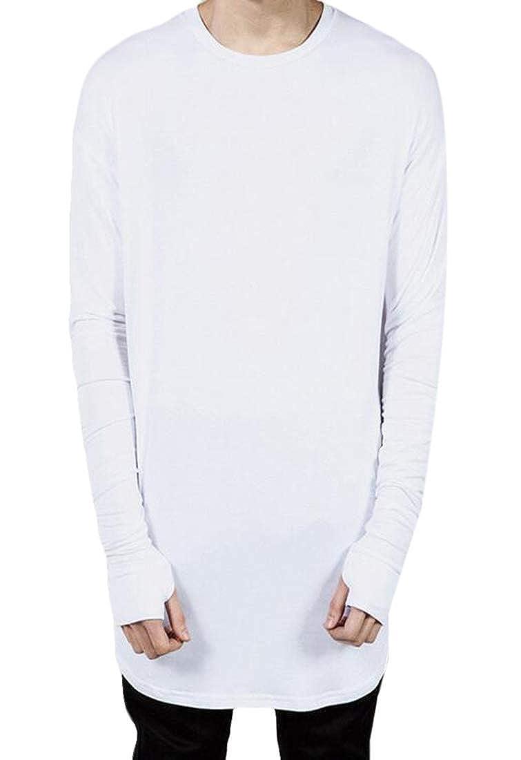 CRYYU Men Fashion Round Neck Long Sleeve Pure Color Hip Hop Style Long T-Shirt