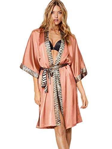 Victoria's Secret Satin Kimono Robe Very Sexy Peach Animal Print -