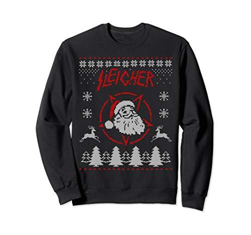 Sleigher Ugly Christmas Sweater Santa Metal Sweatshirt Sweatshirt (Punk Ugly Christmas Sweaters Rock)