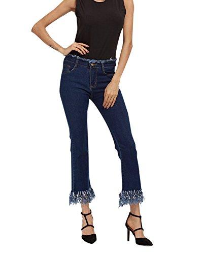 Trou Taille Destroy En Fit Pantalons Denim Dchirs Jeans Fonc Haute Pantalons Slim Bleu Femme vqwgnERtFx