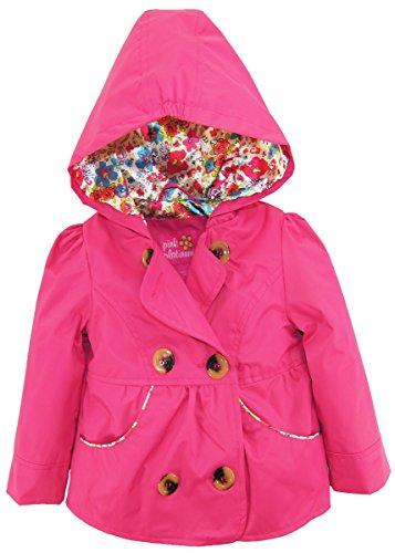 Pink Satin Lining (Pink Platinum Toddler Girls' Short Trench W/Satin Lining, Pink, 3T)