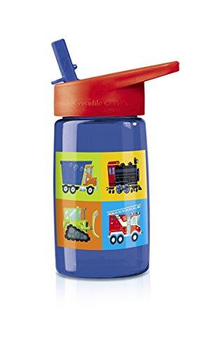 Crocodile Creek Kids Eco Vehicles Flip Straw Tritan Drinking Bottle, Blue, 7