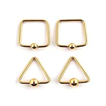 Rimi 16g 316L Surgical Steel Captive Bead Rings Nose Belly Eyebrow Tragus Lip Ear Nipple Hoop Daith Ring BCR 4pcs Gold