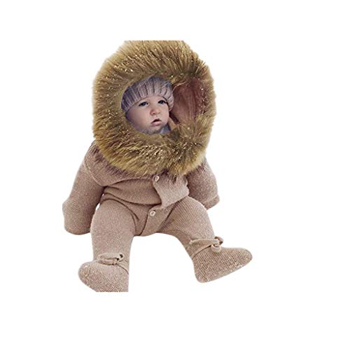 Boy Girl Hooded Romper Jumpsuit,Infant Baby Winter Knit Warm Outerwear Clothes (6-12 Months, Khaki)