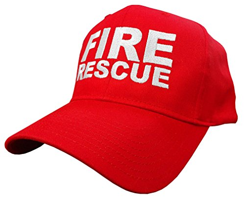 FIRE Rescue - EMT EMS Ambulance Fireman - Embroidered Baseball Cap Hat, Red (Hat Rescue Fire)