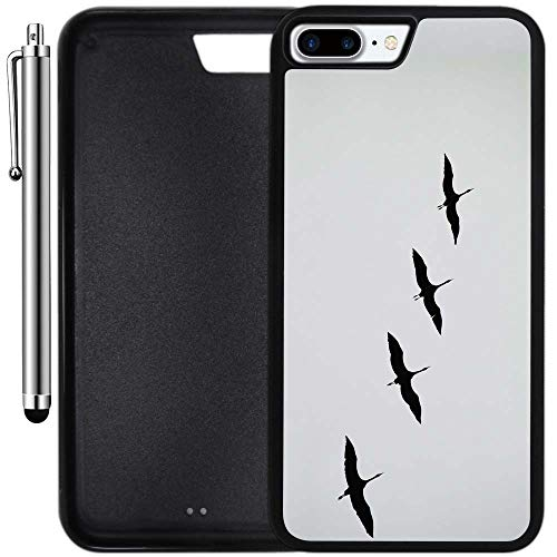 Custom Case Compatible with iPhone 8 Plus (5.5 inch) (Flock of Cranes) Edge-to-Edge Rubber Black Cover Ultra Slim | Lightweight | Includes Stylus Pen by Innosub