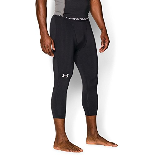 Under Armour Men's HeatGear Armour ¾ Compression Leggings, Black /White, Large by Under Armour (Image #4)