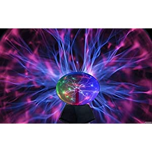 Lightahead 8″ Crystal Plasma Ball Lamp with Green/Red/Purple/Multi Light Colors Globe Design Touch Sound Sensitive