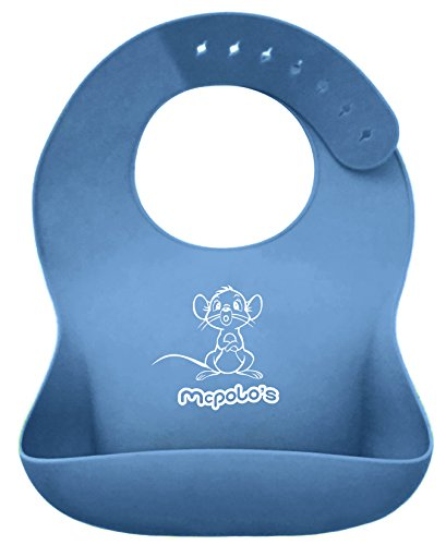 McPolo's Cutest Baby Mouse iBib NATUZZI Series - the ''iPhone'' in Silicone Baby Bib World - Fitting MORE Growing Babies 2 MO to 6 YO Toddlers & PreSchoolers comfortably with Smart Buttons by McPolo's
