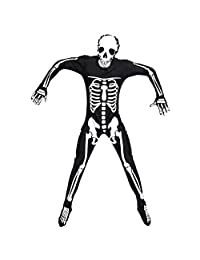 Yiwa Creative Skeleton Jumpsuit Full Bodysuit for Halloween Fancy Ball Role Play Stage Costume Ghost Catsuit Color Black M