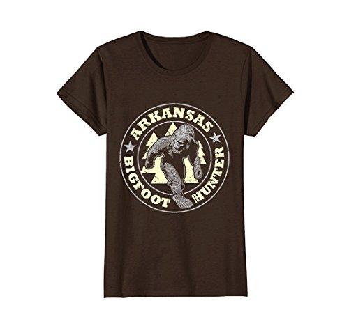 Womens Arkansas Bigfoot Hunter Believe T Shirt Large Brown