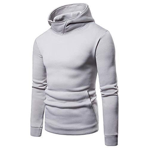 - Zipper Pullover Men Pure Color Long Sleeve Hooded Sweatshirt Tops Blouse