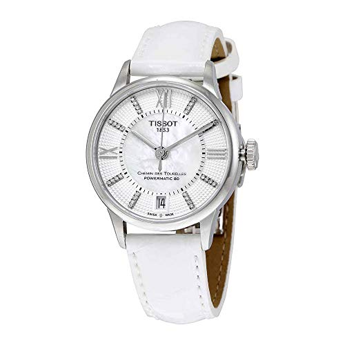 (Tissot Mother of Pearl Dial Leather Strap Ladies Watch)