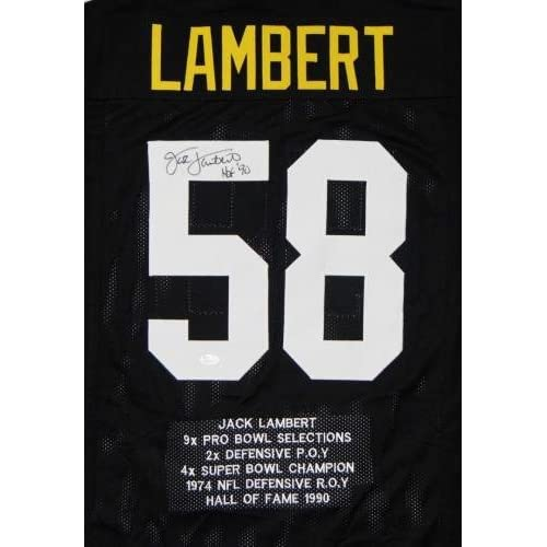 newest collection d79f3 d3abf Jack Lambert Autographed Jersey - Black Pro Style Stat1 HOF ...