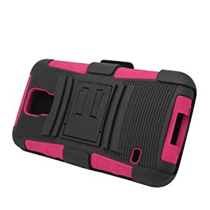 EagleCell Hybrid Protective Skin Case Cover with Stand and Belt Clip Holster for Samsung Galaxy S5 - Retail Packaging - Hot Pink/Black