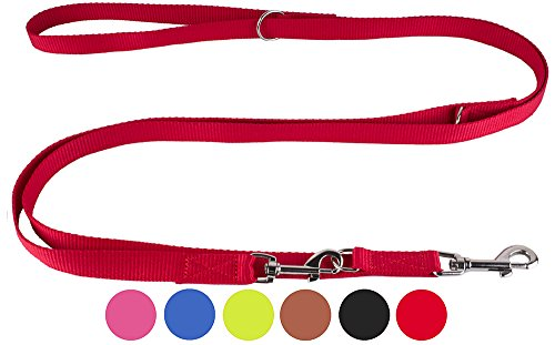 CollarDirect Nylon Dog Leash, Training Dog Leash Nylon, Two Dogs Leash Puppy Lead Nylon Adjustable Length Red Black Blue Pink Brown Lime Green (XL, Red) - Traditional 4' Handle Pull