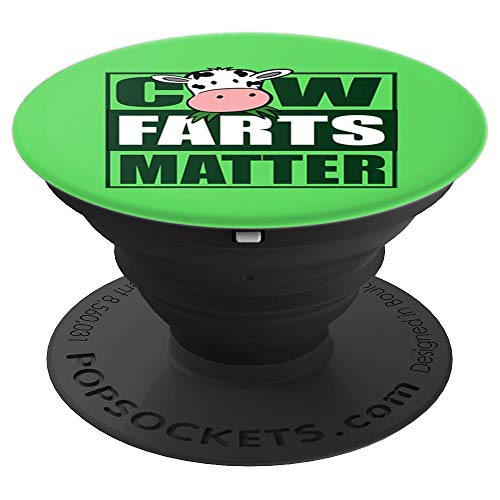 Save the Cows Green New Deal Cow Farts Matter - PopSockets Grip and Stand for Phones and Tablets ()